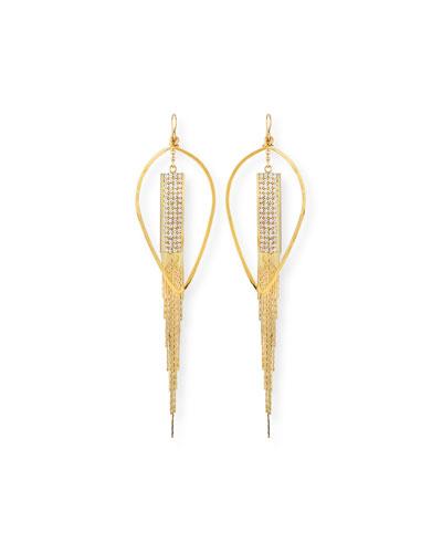 Teardrop & Crystal Chain Earrings