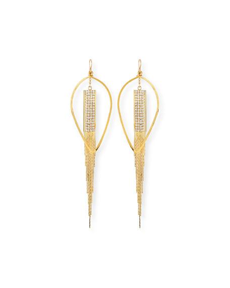 Devon Leigh Teardrop & Crystal Chain Earrings