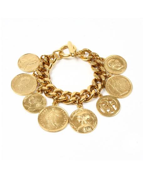 Ben-Amun Chain-Link Coin Drop Bracelet