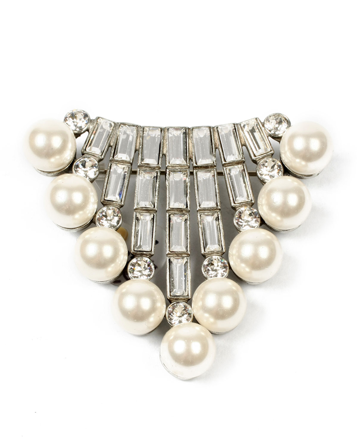 Crystal Baguette & Pearly Brooch