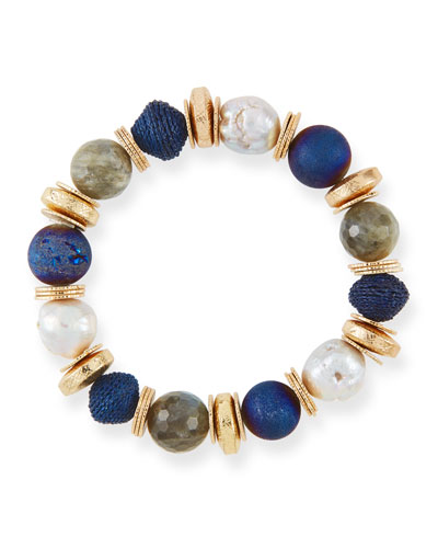 Quick Look Akola Stone Disc Stretch Bead Bracelet