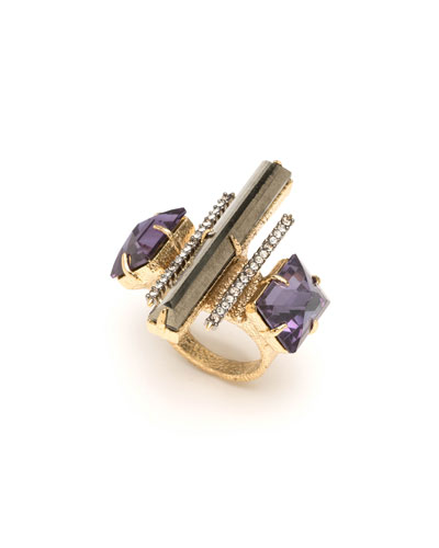 Three-Stone Fancy Baguette Cocktail Ring
