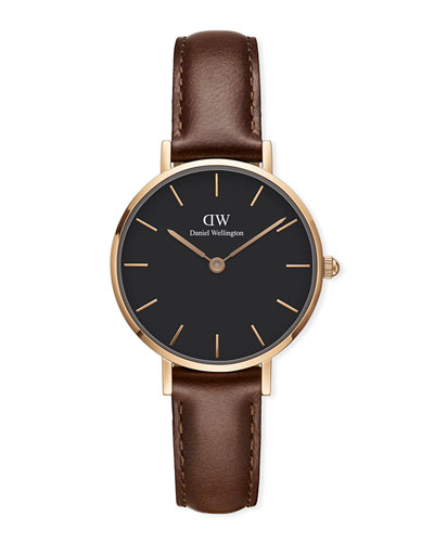 28mm Classic Petite St Mawes Watch w/ Leather Strap, Black