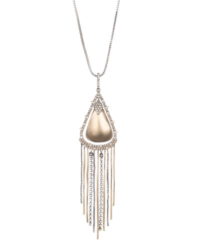Crystal Encrusted Tassel Chain Pendant Necklace with Lucite