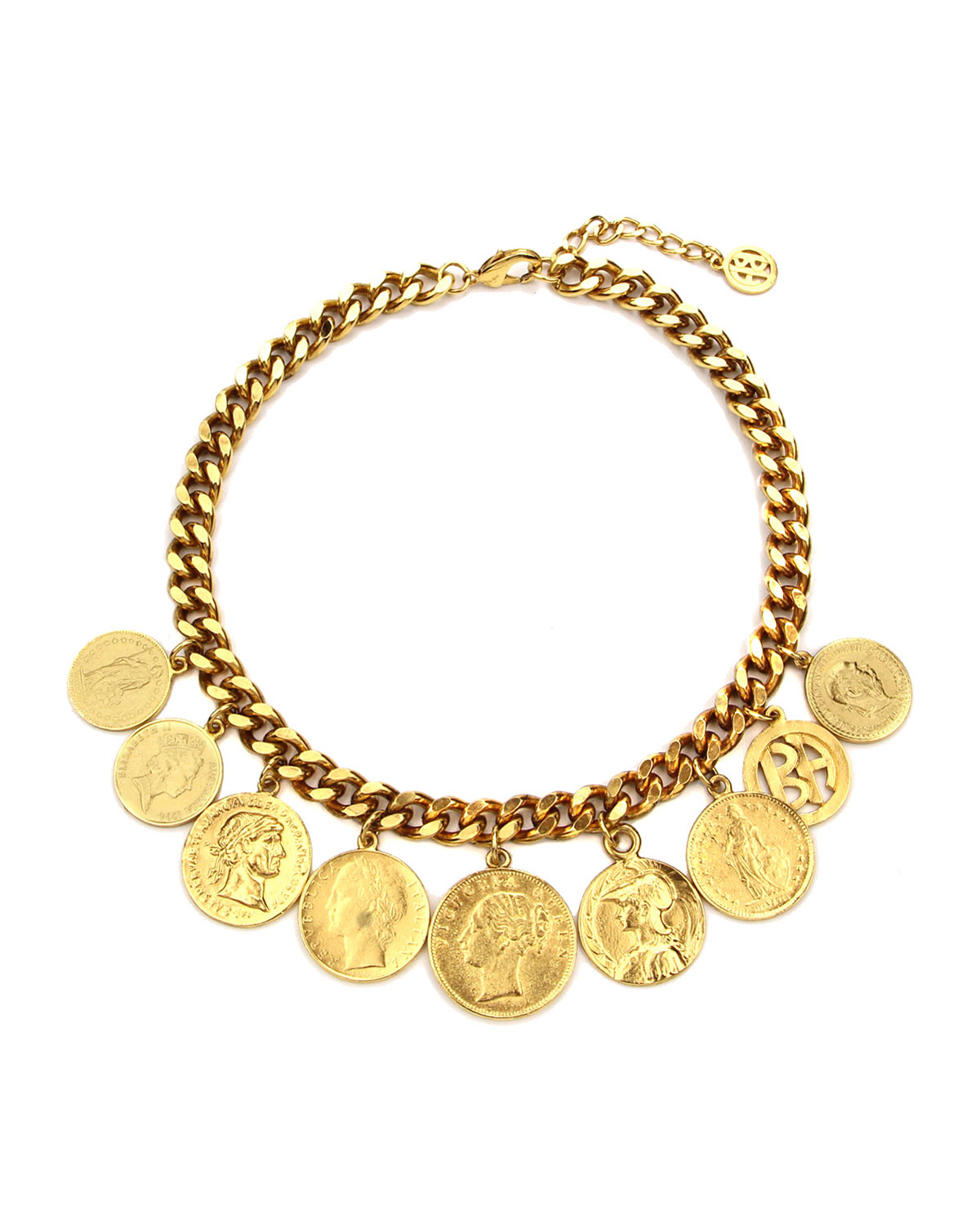 Chain-Link Coin Drop Necklace