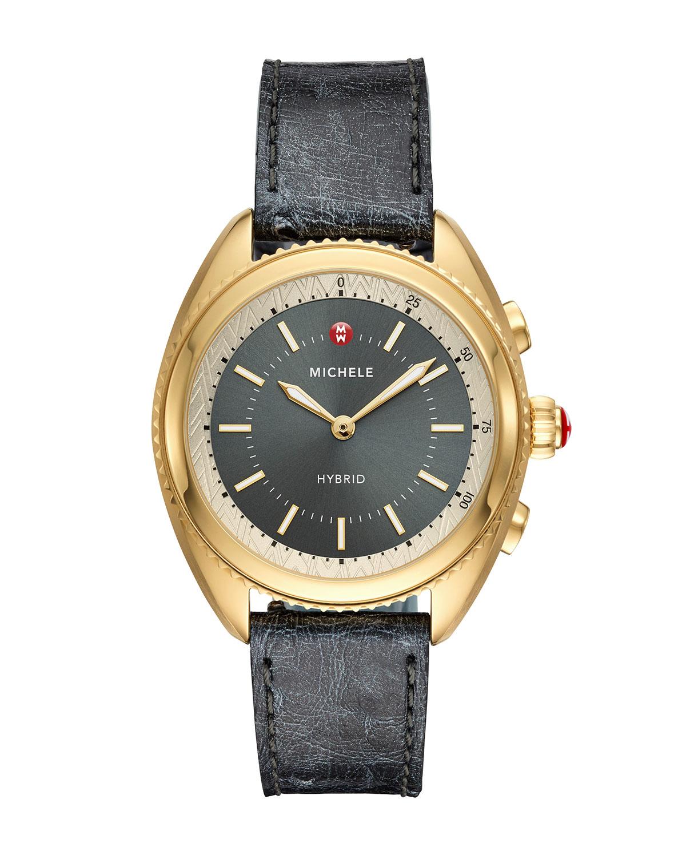 38mm Hybrid Smartwatch w/ Ostrich Strap, Gold/Gray