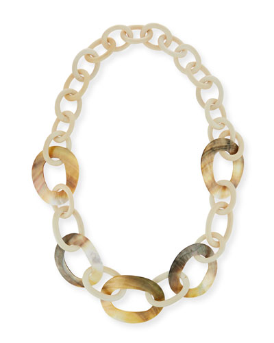 White Wood & Mother-of-Pearl Link Necklace