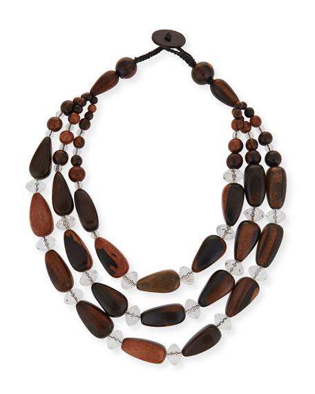 Viktoria Hayman Triple-Strand Crystal & Wood Necklace