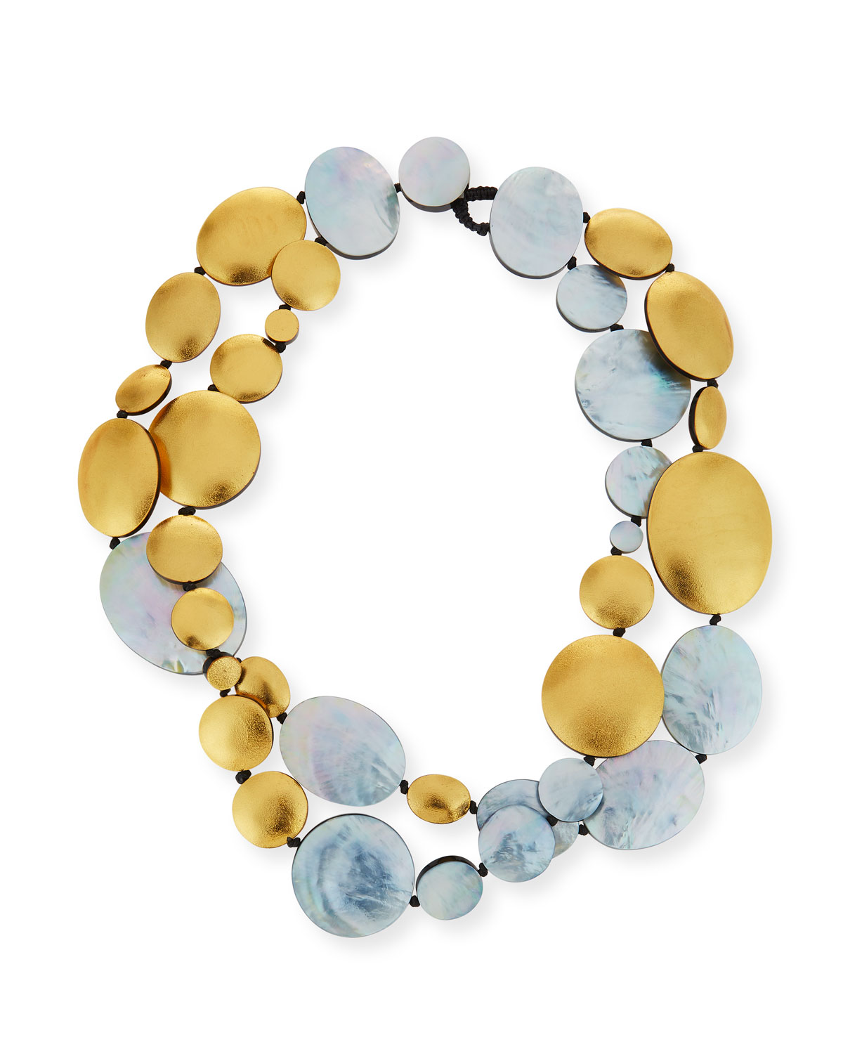 VIKTORIA HAYMAN Double-Strand Two-Tone Disc Necklace in Yellow/Silver