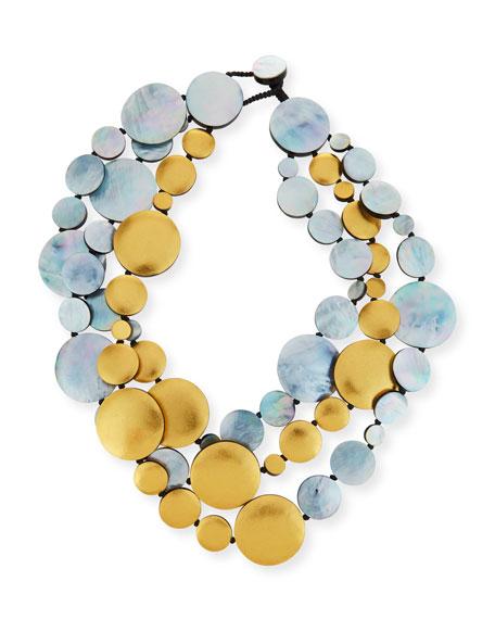 Viktoria Hayman Triple-Strand Two-Tone Disc Necklace