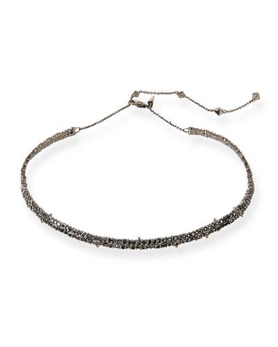 Crystal Encrusted Spike Choker Necklace, Black