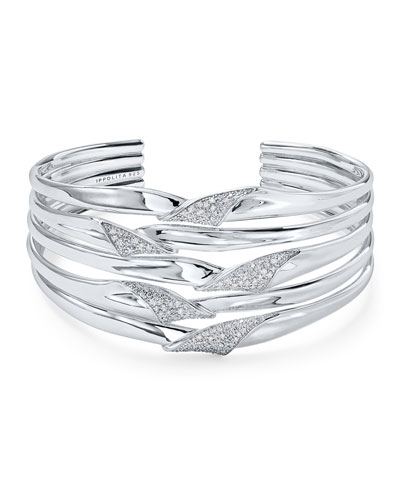 Stardust Silver Folded Diamond Ribbon Bangle Bracelet