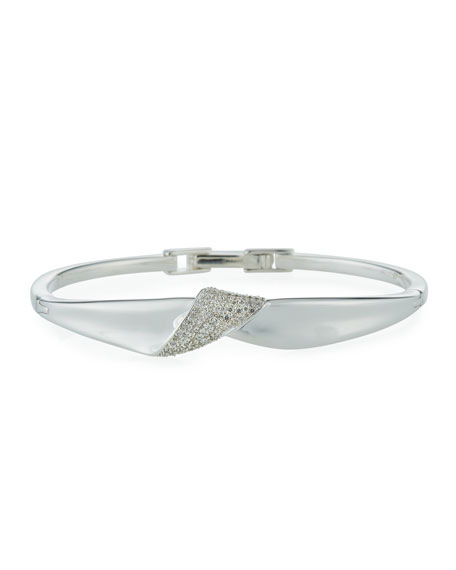 Ippolita Classico Stardust Silver Folded Bangle Bracelet w/ Diamonds