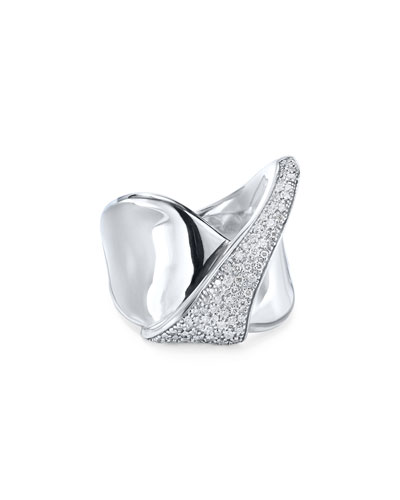 Stardust Silver Folded Diamond Ribbon Ring