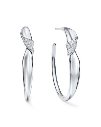 Classico Stardust Small Folded Hoop Earrings w/ Diamonds
