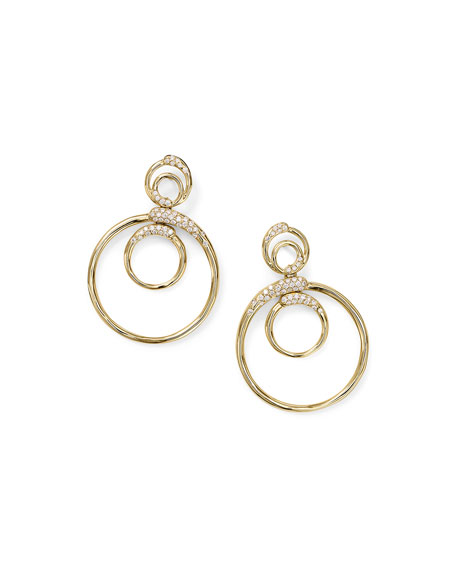 Ippolita 18k Gold Stardust Triple Circle Snowman Earrings w/ Diamonds