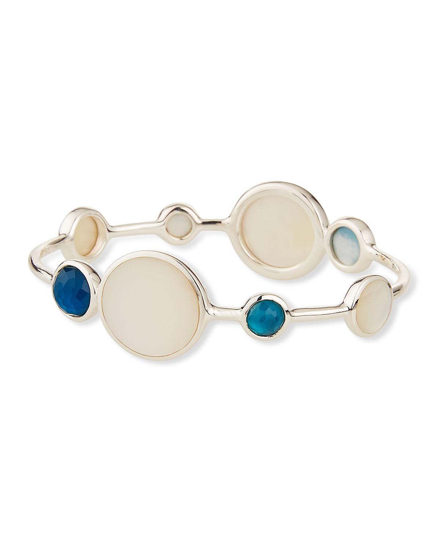Sterling Silver Wonderland Moroccan Dusk Mother-Of-Pearl, Clear Quartz & Black Shell Bangle Bracelet, Neutral Pattern