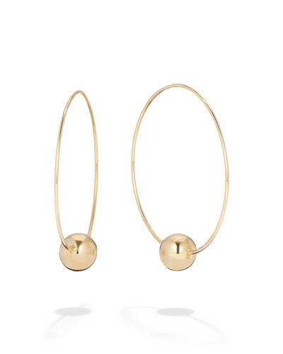 14k Gold Bead-Base Hoop Earrings