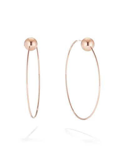 14k Gold Bead-Post Hoop Earrings