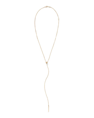 14k Gold Bead Y-Drop Lariat Necklace