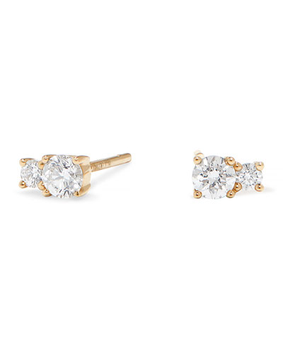 Quick Look Lana 14k Gold Double Diamond Stud Earrings