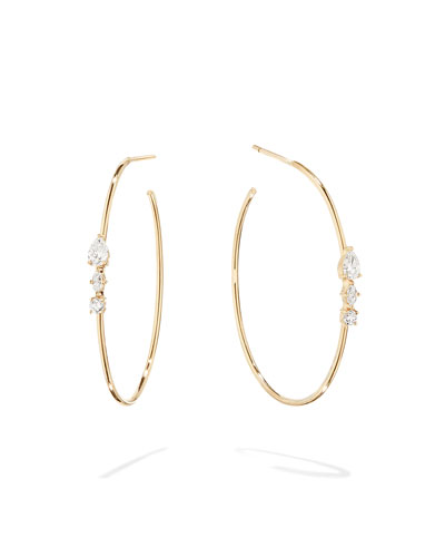 Magic 14k Gold Diamond Cluster Hoop Earrings