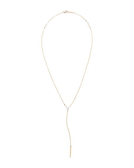 Lana 14k Gold Emerald Diamond Y-Drop Necklace
