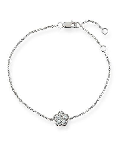 18k White Gold Diamond Flower Bracelet