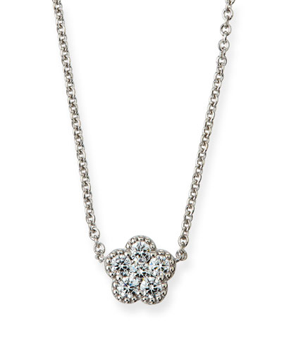 18k White Gold Diamond Flower Small Pendant Necklace