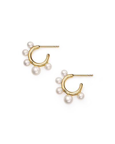 18k Nova Huggie Hoop Earrings, Mother-of-Pearl