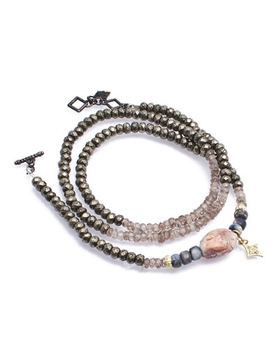 Old World Triple-Wrap Pyrite, Zircon & Boulder Opal Bead Bracelet