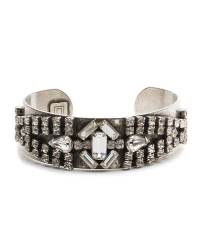Petunia Mixed Crystal Kick Cuff Bracelet