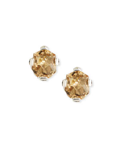 Champagne Quartz Freeform Stud Earrings