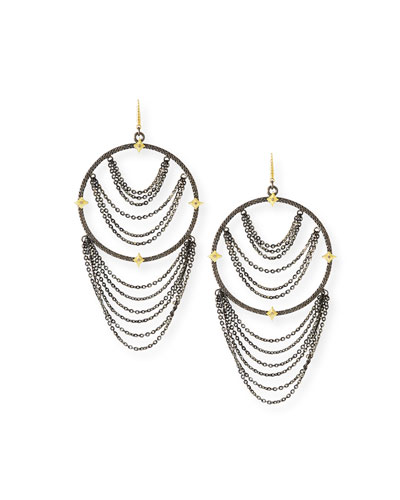 Old World Diamond Hoop Chain Earrings
