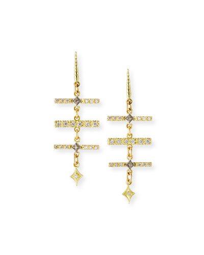 Old World Diamond Triple-Bar Earrings