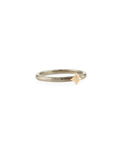 New World Single Diamond Crivelli Ring, Two-Tone
