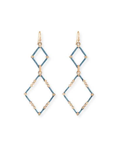 New World Enamel & Diamond Crivelli Drop Earrings