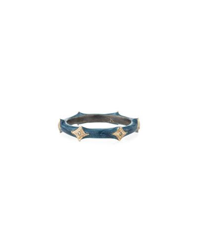 New World Enamel & Crivelli Band Ring, Size 6.5