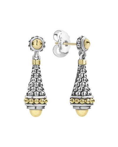 Silver & 18k Gold Caviar Drop Earrings