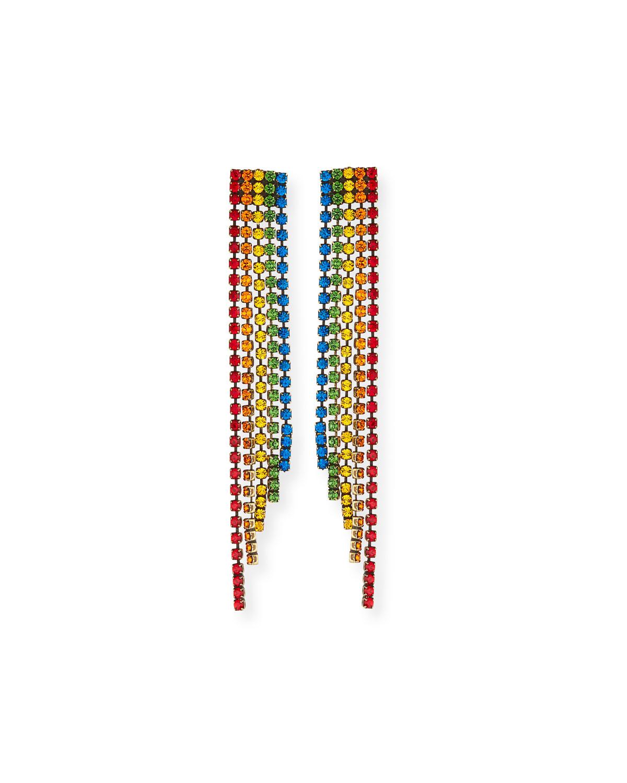 AUDEN Rainbow Crystal Fringe Earrings in Multi Pattern
