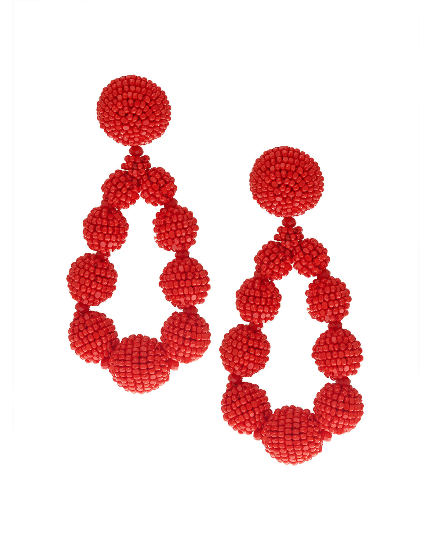 Seed Bead Teardrop Clip-On Earrings, Red