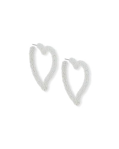 Seed Bead Heart Hoop Earrings, White