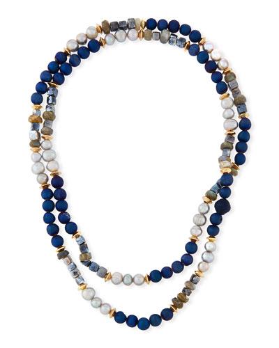 Long Thin Mixed Stone & Pearl Strand Necklace