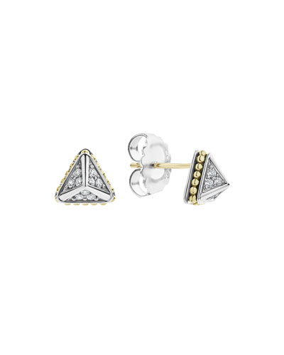 KSL Lux Diamond Silver & 18k Gold 9mm Pyramid Stud Earrings