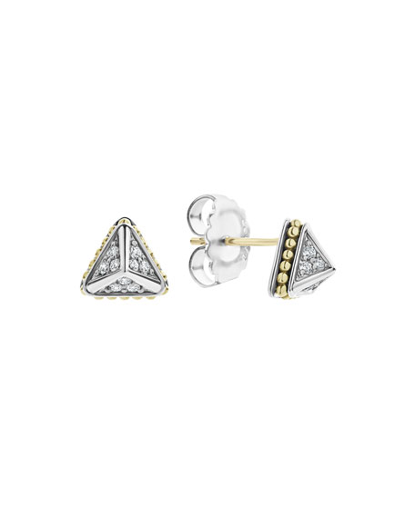 Lagos KSL Lux Diamond Silver & 18k Gold 9mm Pyramid Stud Earrings