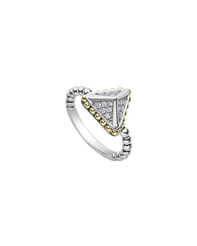 KSL Lux Diamond Silver & 18k Gold 12mm Caviar Pyramid Ring