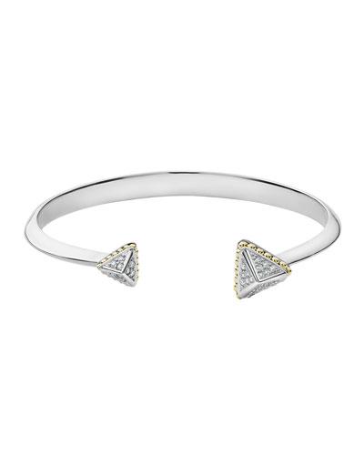 KSL Lux Diamond Silver & 18k Gold Caviar Pyramid Cuff Bracelet