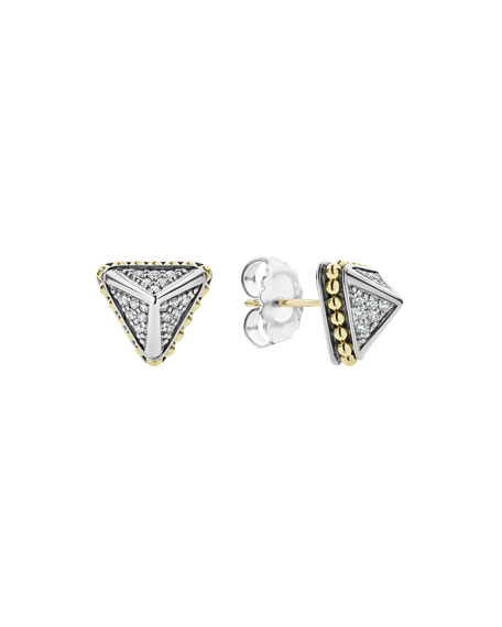 Lagos KSL Lux Diamond Silver & 18k Gold Caviar 12mm Pyramid Stud Earrings