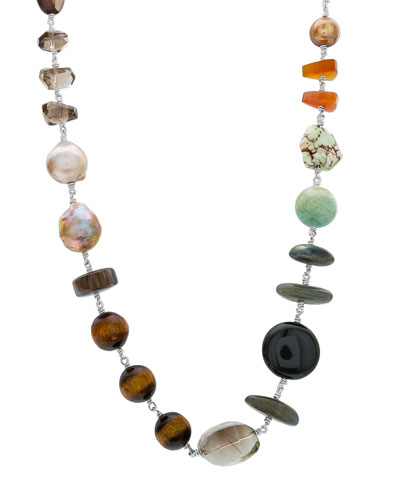 Multicolor-Stone & Pearl Necklace