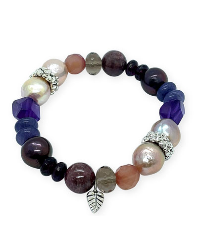 Mixed-Stone & Pearl Stretch Bracelet